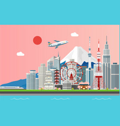 Amazing tourist attrations for traveling in tokyo vector