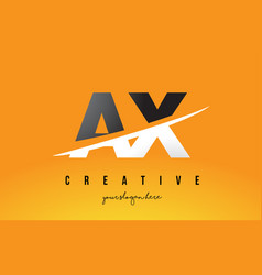 Ax a x letter modern logo design with yellow vector