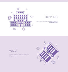 Banking and wage finance business concept template vector