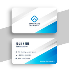 Blue and white stylish business card design vector