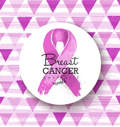 Breast cancer awareness pink ribbon badge art vector