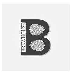 Brewhouse logo with letter b and beer hops on vector