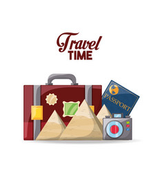 briefcase with passport and camera vector image