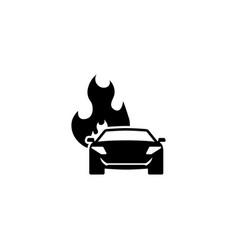 burning car flat icon vector image