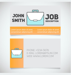 Business card print template with briefcase logo vector
