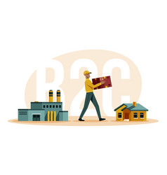 Business to consumer b2c in flat vector