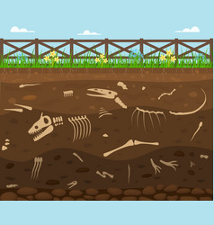 cartoon soil with dead animals card background vector image