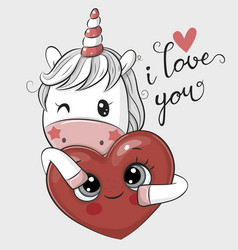 Cartoon unicorn with heart on a white background vector