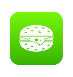 cheeseburger icon digital green vector image