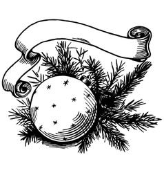Christmas ball and ribbon vector image vector image