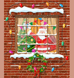 Christmas window in brick wall vector