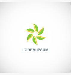 circle leaf organic logo vector image