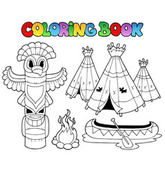 coloring book with totem vector image