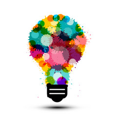 creativity concept with colorful splashes in bulb vector image