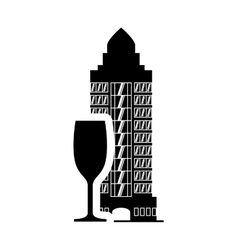 Cup hotel building silhouette design vector
