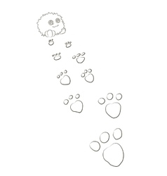 Cute cartoon monster footprints behind him vector