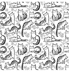 Cute cats seamless pattern background with hand vector
