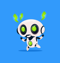 cute robot with green lightning charge isolated vector image