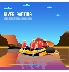 drawing tourists engaged in rafting vector image