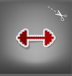 Dumbbell weights sign red icon with for vector