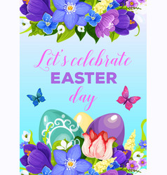 easter paschal eggs flowers greeting poster vector image