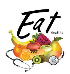 eat healthy 3d fruit background image vector image