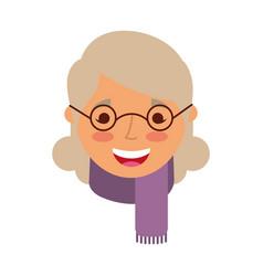 Elderly woman lady smiling cartoon people profile vector