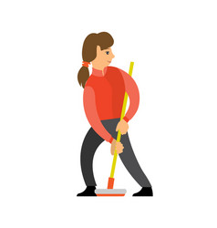 Female shuffleboard player girl with curling broom vector