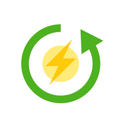 Flash and circle arrow clean energy flat icon vector
