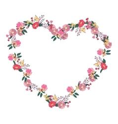 Floral heartshaped wreath made wildflowers vector