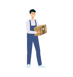 friendly delivery man holding cardboard box vector image