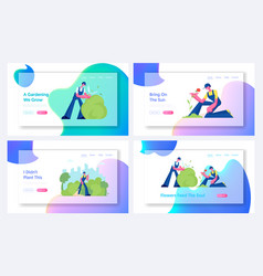 Gardening and janitor service website landing page vector