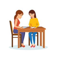Girls sitting at table decide working moments vector