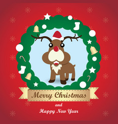 Greeting card christmas card with reindeer vector