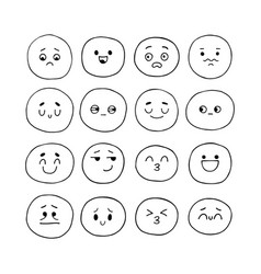 hand drawn funny smiley faces sketched facial vector image