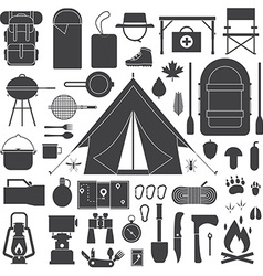 Hiking and Camping Outline Icon Set vector image
