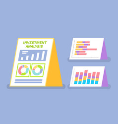investment analysis boards with statistics set vector image