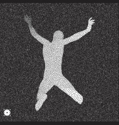 Jumping man 3d model of man black and white vector