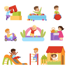 Kids having fun at playground set boys and girls vector