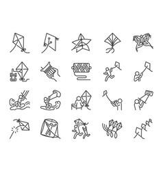 kite line icon set vector image