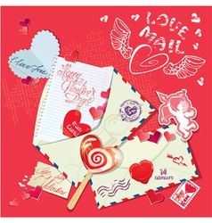 letter heart card 380 vector image
