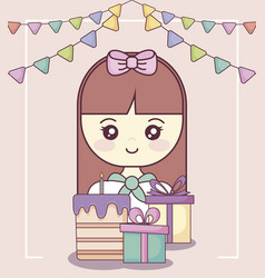 little girl with gift boxes and sweet cake vector image