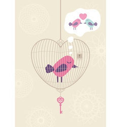 Love cage with lonely bird vector