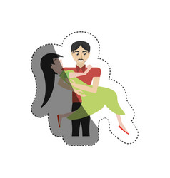 Loving couple cheerful shadow vector