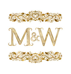 m and w vintage initials logo symbol letters vector image
