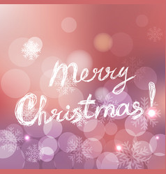 merry christmas card with text on silver pink rose vector image