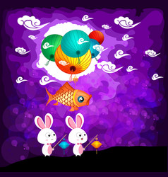 Mid autumn festival background with rabbit vector