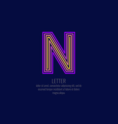 modern linear logo and sign the letter n vector image