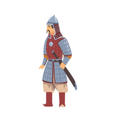 mongol nomad warrior central asian character vector image