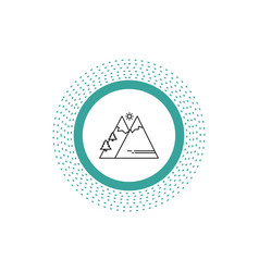 mountains nature outdoor sun hiking line icon vector image
